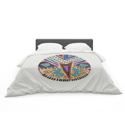 "Pom Graphic Design ""Multicultural Icon"" Teal Gold Abstract Geometric Featherweight Duvet Cover"