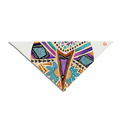 "Pom Graphic Design ""Multicultural Icon"" Teal Gold Abstract Geometric Pet Bandana"
