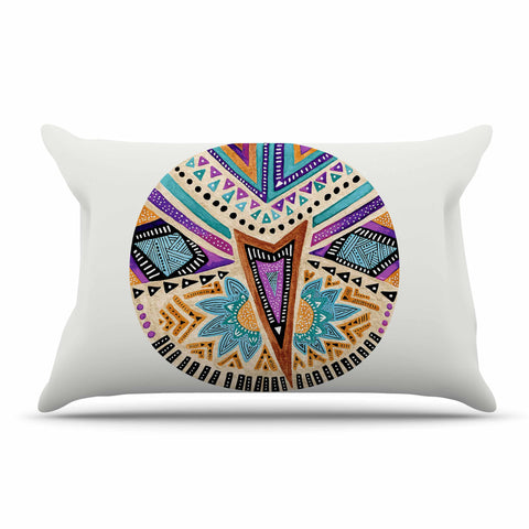 "Pom Graphic Design ""Multicultural Icon"" Teal Gold Abstract Geometric Pillow Sham"