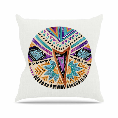 "Pom Graphic Design ""Multicultural Icon"" Teal Gold Abstract Geometric Outdoor Throw Pillow"