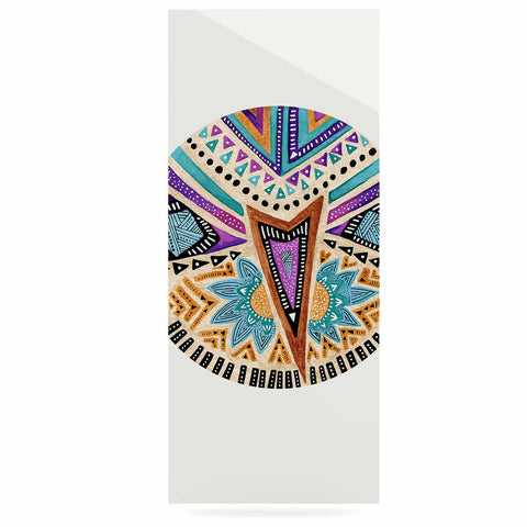 "Pom Graphic Design ""Multicultural Icon"" Teal Gold Abstract Geometric Luxe Rectangle Panel"