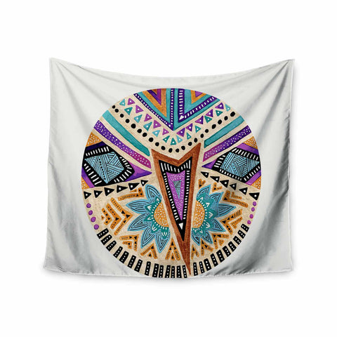"Pom Graphic Design ""Multicultural Icon"" Teal Gold Abstract Geometric Wall Tapestry - KESS InHouse  - 1"