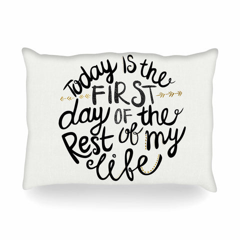 "Pom Graphic Design ""Today Is The First Day"" Black Gold Typography Illustration Oblong Pillow"