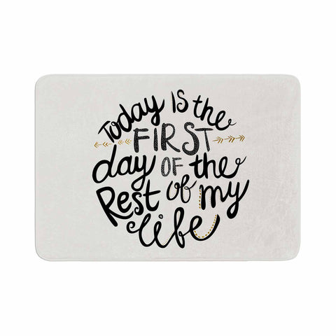 "Pom Graphic Design ""Today Is The First Day"" Black Gold Typography Illustration Memory Foam Bath Mat"