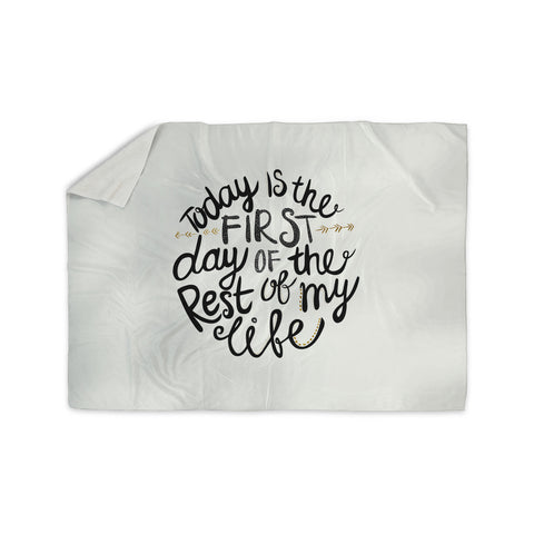 "Pom Graphic Design ""Today Is The First Day"" Black Gold Typography Illustration Sherpa Blanket - KESS InHouse"