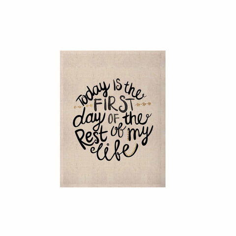 "Pom Graphic Design ""Today Is The First Day"" Black Gold Typography Illustration KESS Naturals Canvas (Frame not Included)"
