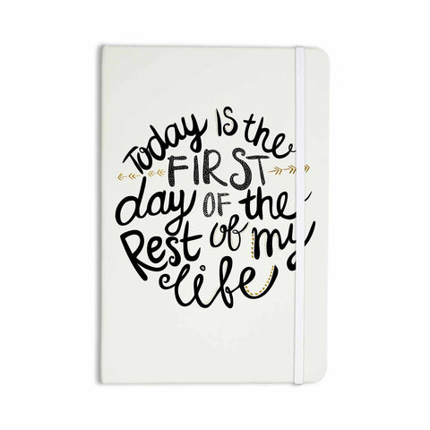 "Pom Graphic Design ""Today Is The First Day"" Black Gold Typography Illustration Everything Notebook - KESS InHouse  - 1"