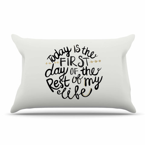 "Pom Graphic Design ""Today Is The First Day"" Black Gold Typography Illustration Pillow Sham"