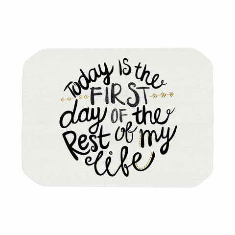 "Pom Graphic Design ""Today Is The First Day"" Black Gold Typography Illustration Place Mat"
