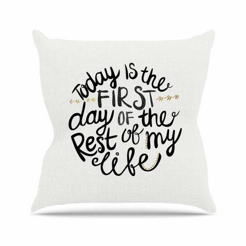 "Pom Graphic Design ""Today Is The First Day"" Black Gold Typography Illustration Throw Pillow"