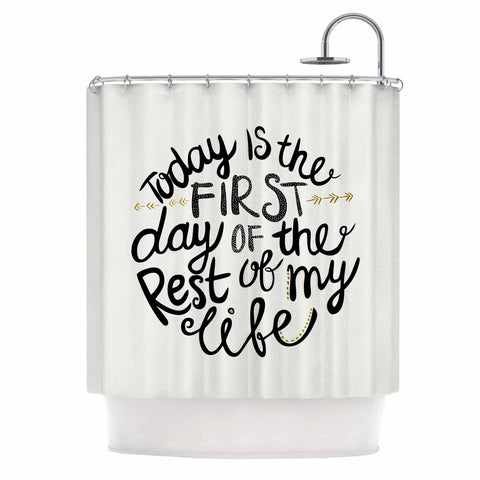 "Pom Graphic Design ""Today Is The First Day"" Black Gold Typography Illustration Shower Curtain"