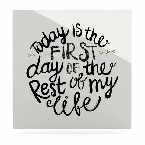 "Pom Graphic Design ""Today Is The First Day"" Black Gold Typography Illustration Luxe Square Panel"