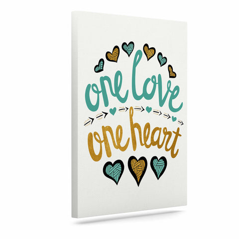 "Pom Graphic Design ""One Love One Heart"" Gold Teal Typography Illustration Canvas Art"