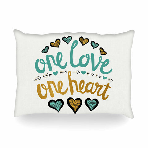 "Pom Graphic Design ""One Love One Heart"" Gold Teal Typography Illustration Oblong Pillow"
