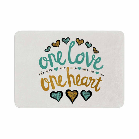 "Pom Graphic Design ""One Love One Heart"" Gold Teal Typography Illustration Memory Foam Bath Mat"
