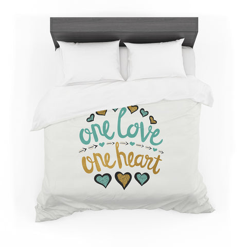 "Pom Graphic Design ""One Love One Heart"" Gold Teal Typography Illustration Featherweight Duvet Cover"