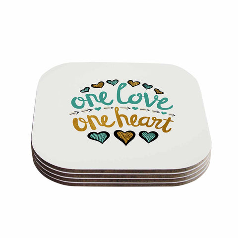 "Pom Graphic Design ""One Love One Heart"" Gold Teal Typography Illustration Coasters (Set of 4)"