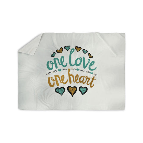 "Pom Graphic Design ""One Love One Heart"" Gold Teal Typography Illustration Sherpa Blanket - KESS InHouse"