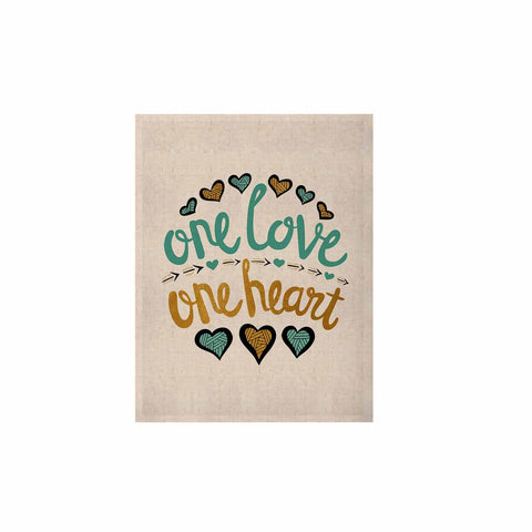"Pom Graphic Design ""One Love One Heart"" Gold Teal Typography Illustration KESS Naturals Canvas (Frame not Included)"