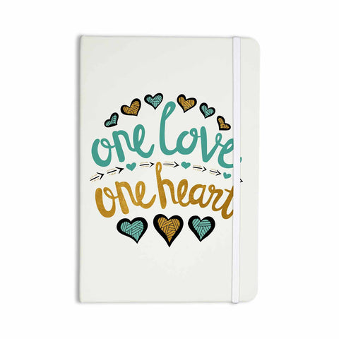 "Pom Graphic Design ""One Love One Heart"" Gold Teal Typography Illustration Everything Notebook - KESS InHouse  - 1"