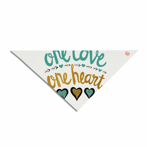 "Pom Graphic Design ""One Love One Heart"" Gold Teal Typography Illustration Pet Bandana"