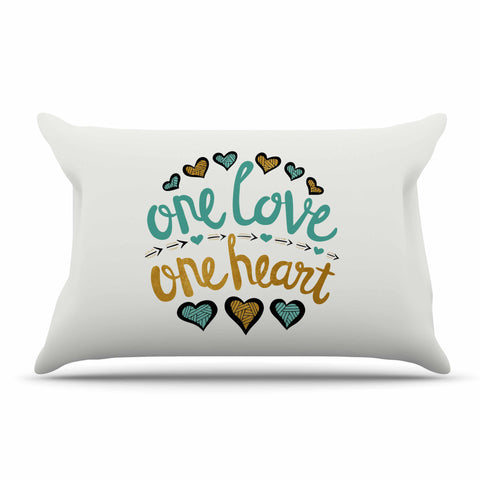 "Pom Graphic Design ""One Love One Heart"" Gold Teal Typography Illustration Pillow Sham"