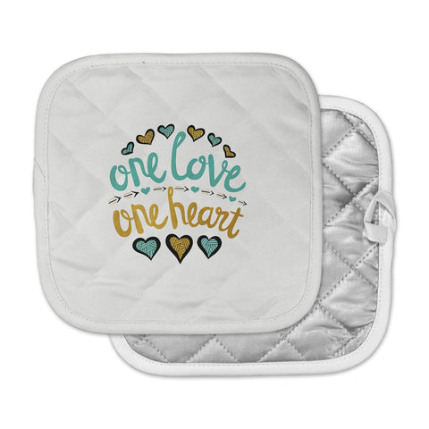 "Pom Graphic Design ""One Love One Heart"" Gold Teal Typography Illustration Pot Holder"