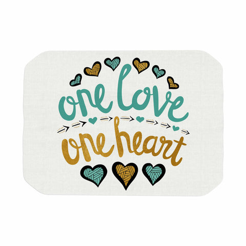 "Pom Graphic Design ""One Love One Heart"" Gold Teal Typography Illustration Place Mat"
