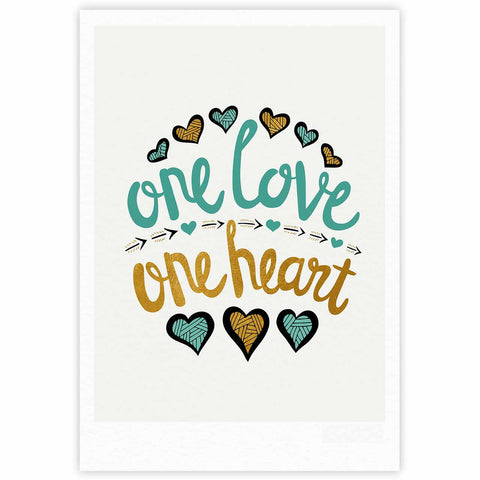 "Pom Graphic Design ""One Love One Heart"" Gold Teal Typography Illustration Fine Art Gallery Print"