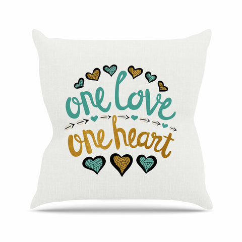 "Pom Graphic Design ""One Love One Heart"" Gold Teal Typography Illustration Throw Pillow"
