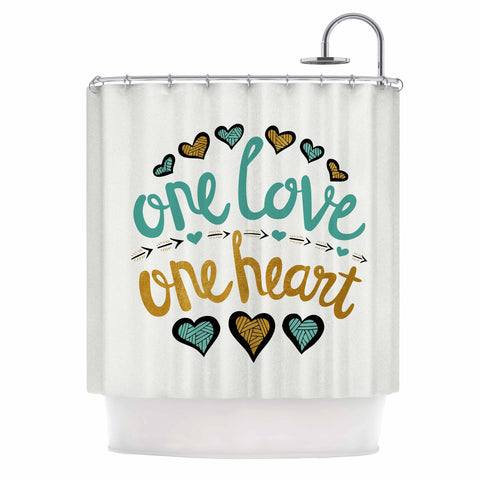 "Pom Graphic Design ""One Love One Heart"" Gold Teal Typography Illustration Shower Curtain"