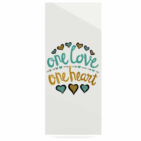 "Pom Graphic Design ""One Love One Heart"" Gold Teal Typography Illustration Luxe Rectangle Panel"
