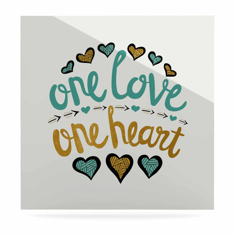 "Pom Graphic Design ""One Love One Heart"" Gold Teal Typography Illustration Luxe Square Panel"