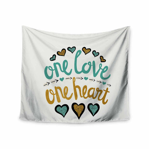 "Pom Graphic Design ""One Love One Heart"" Gold Teal Typography Illustration Wall Tapestry - KESS InHouse  - 1"