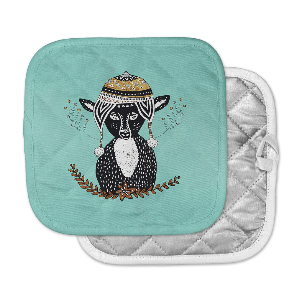 "Pom Graphic Design ""Hipster Deer"" Teal Black Animals Illustration Pot Holder"