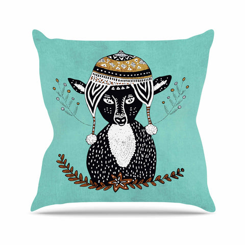 "Pom Graphic Design ""Hipster Deer"" Teal Black Animals Illustration Outdoor Throw Pillow"