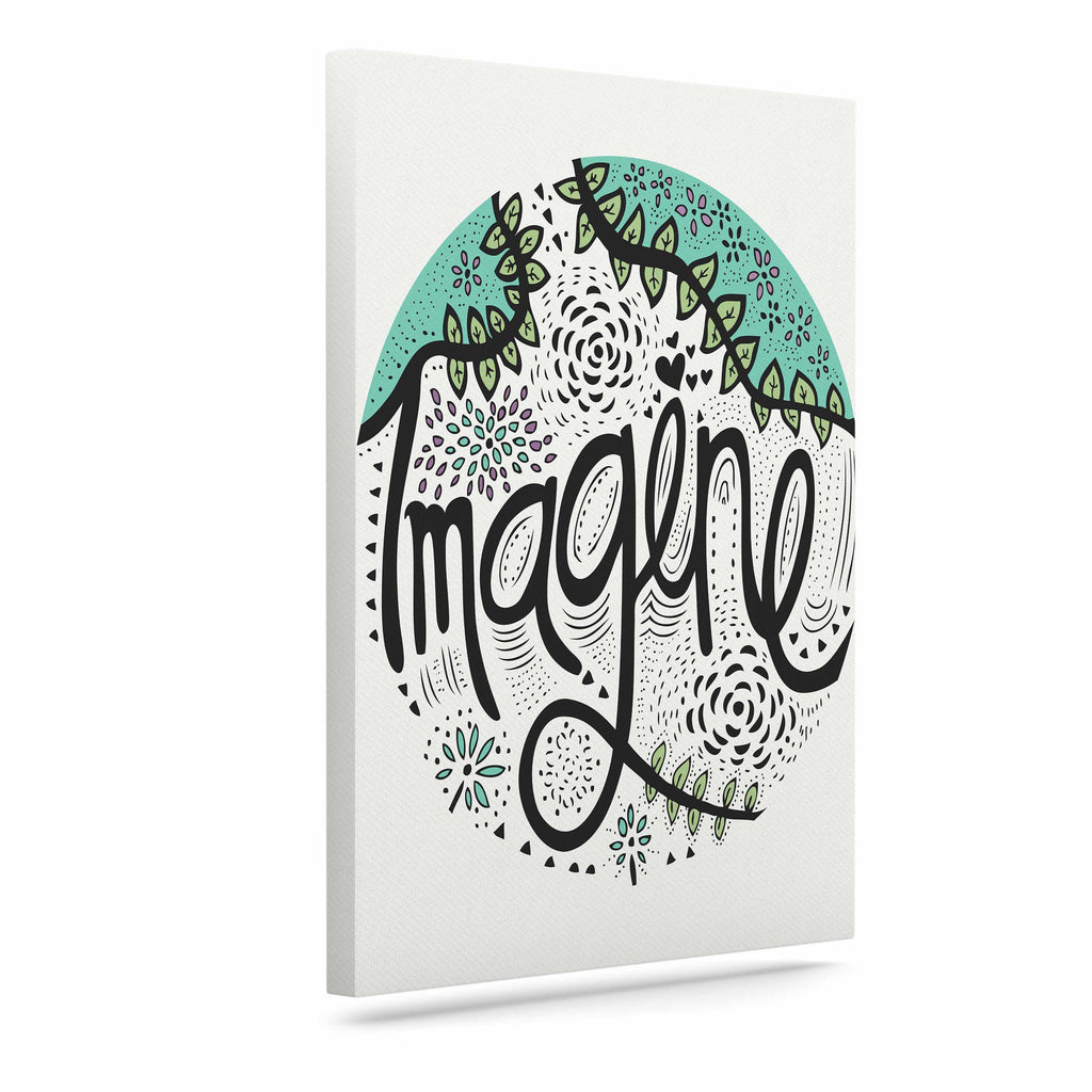 "Pom Graphic Design ""Imagine"" Teal Black Nature Typography Canvas Art"