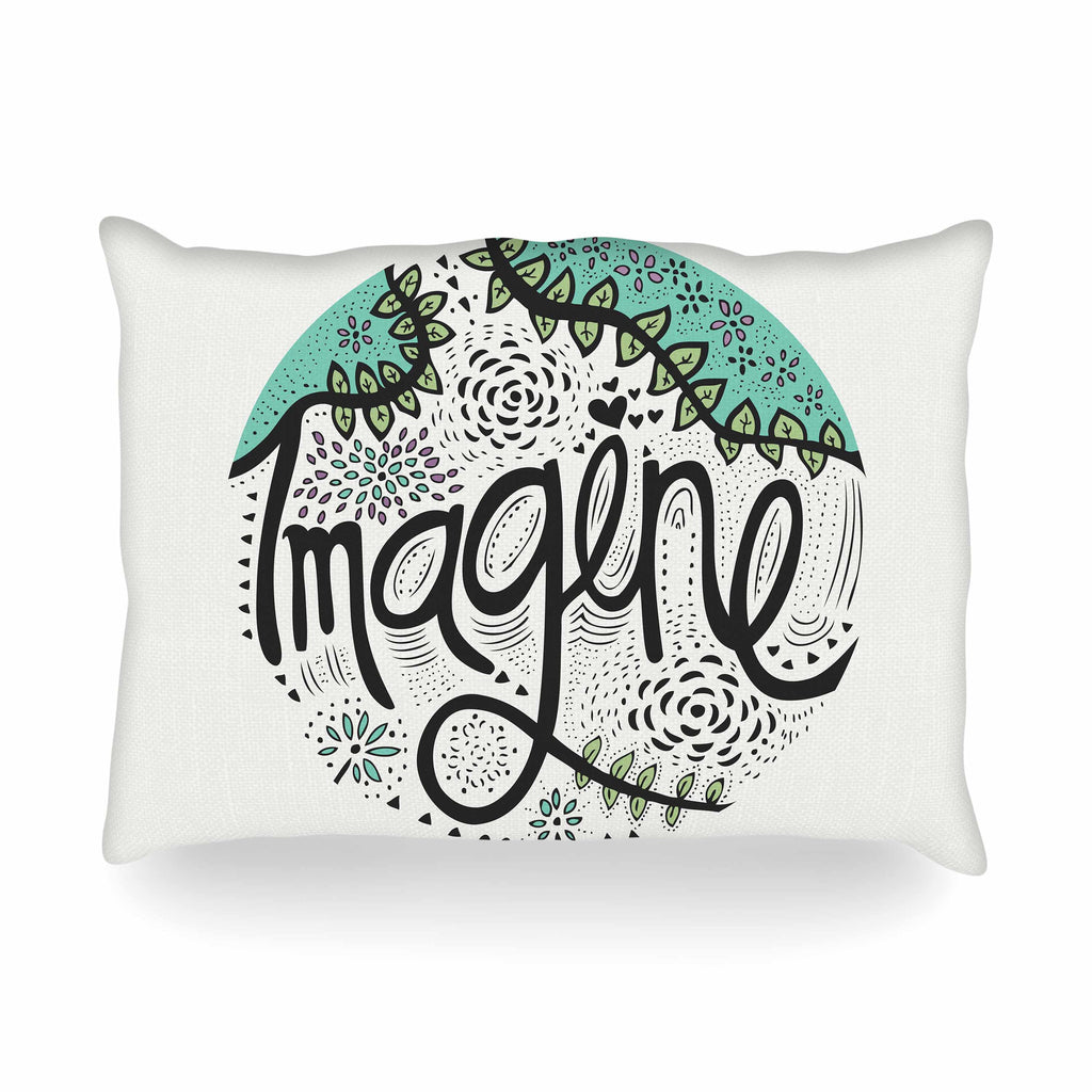 "Pom Graphic Design ""Imagine"" Teal Black Nature Typography Oblong Pillow"