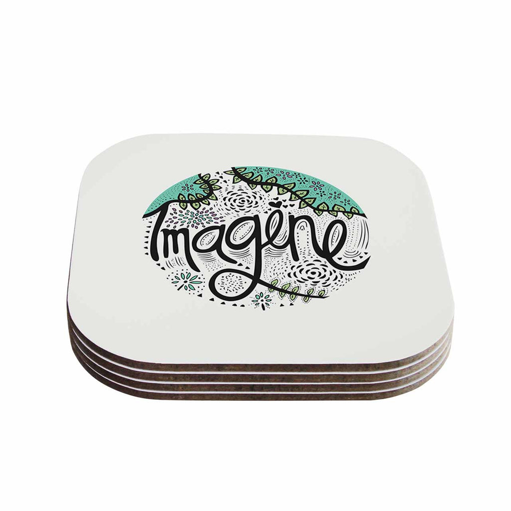 "Pom Graphic Design ""Imagine"" Teal Black Nature Typography Coasters (Set of 4)"