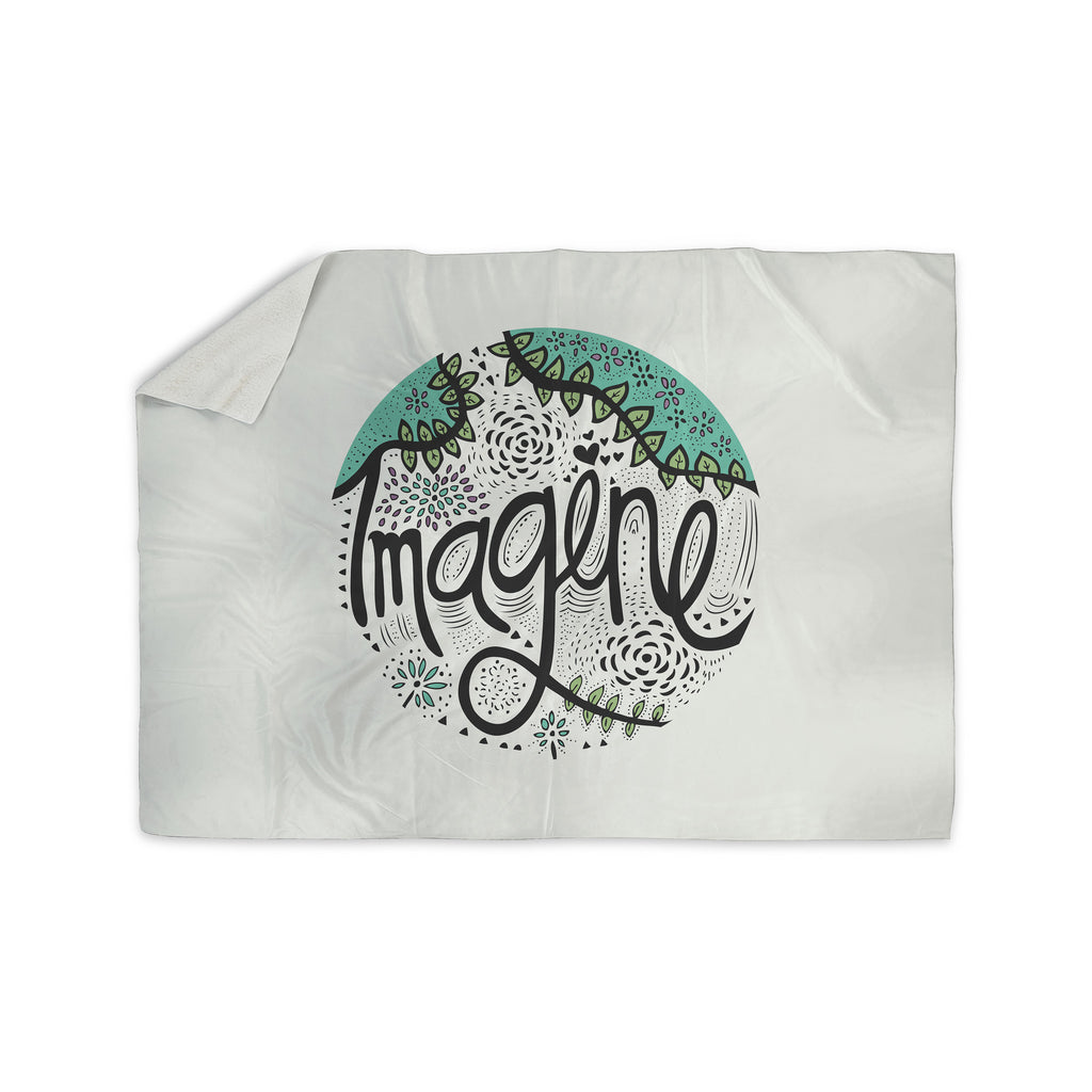 "Pom Graphic Design ""Imagine"" Teal Black Nature Typography Sherpa Blanket - KESS InHouse"