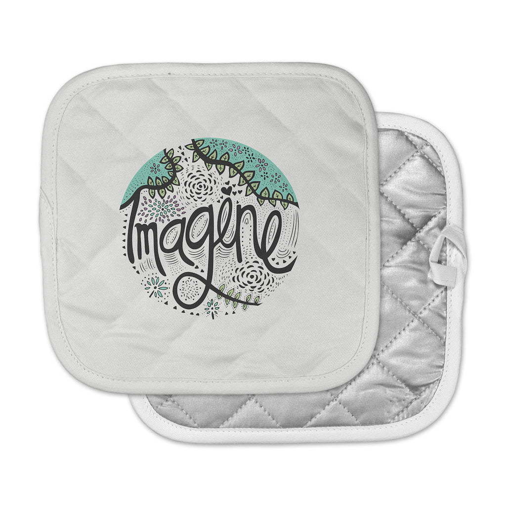 "Pom Graphic Design ""Imagine"" Teal Black Nature Typography Pot Holder"