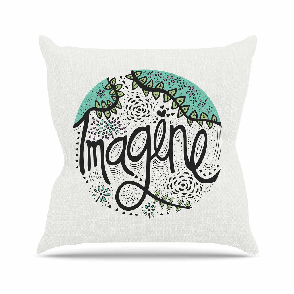 "Pom Graphic Design ""Imagine"" Teal Black Nature Typography Outdoor Throw Pillow"