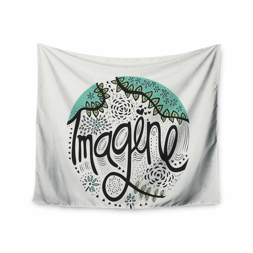 "Pom Graphic Design ""Imagine"" Teal Black Nature Typography Wall Tapestry - KESS InHouse  - 1"