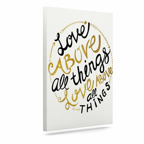 "Pom Graphic Design ""Love Above All Things"" Black Gold Vector Typography Canvas Art"