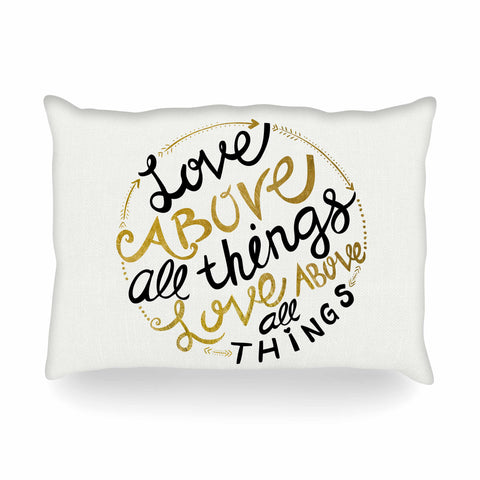 "Pom Graphic Design ""Love Above All Things"" Black Gold Vector Typography Oblong Pillow"