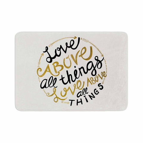 "Pom Graphic Design ""Love Above All Things"" Black Gold Vector Typography Memory Foam Bath Mat"