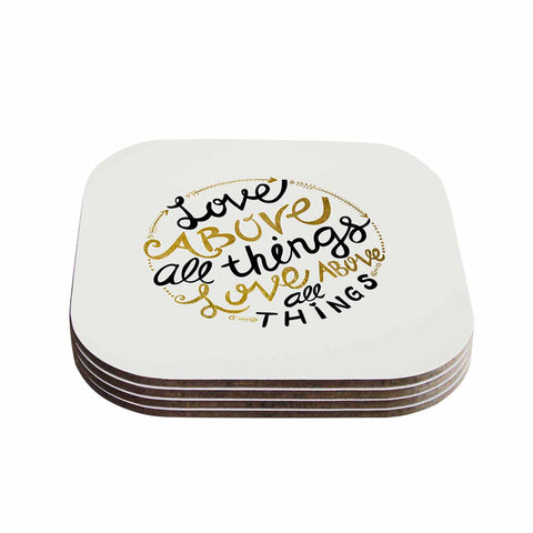 "Pom Graphic Design ""Love Above All Things"" Black Gold Vector Typography Coasters (Set of 4)"
