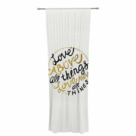 "Pom Graphic Design ""Love Above All Things"" Black Gold Vector Typography Decorative Sheer Curtain"