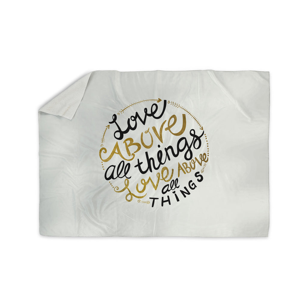 "Pom Graphic Design ""Love Above All Things"" Black Gold Vector Typography Sherpa Blanket - KESS InHouse"