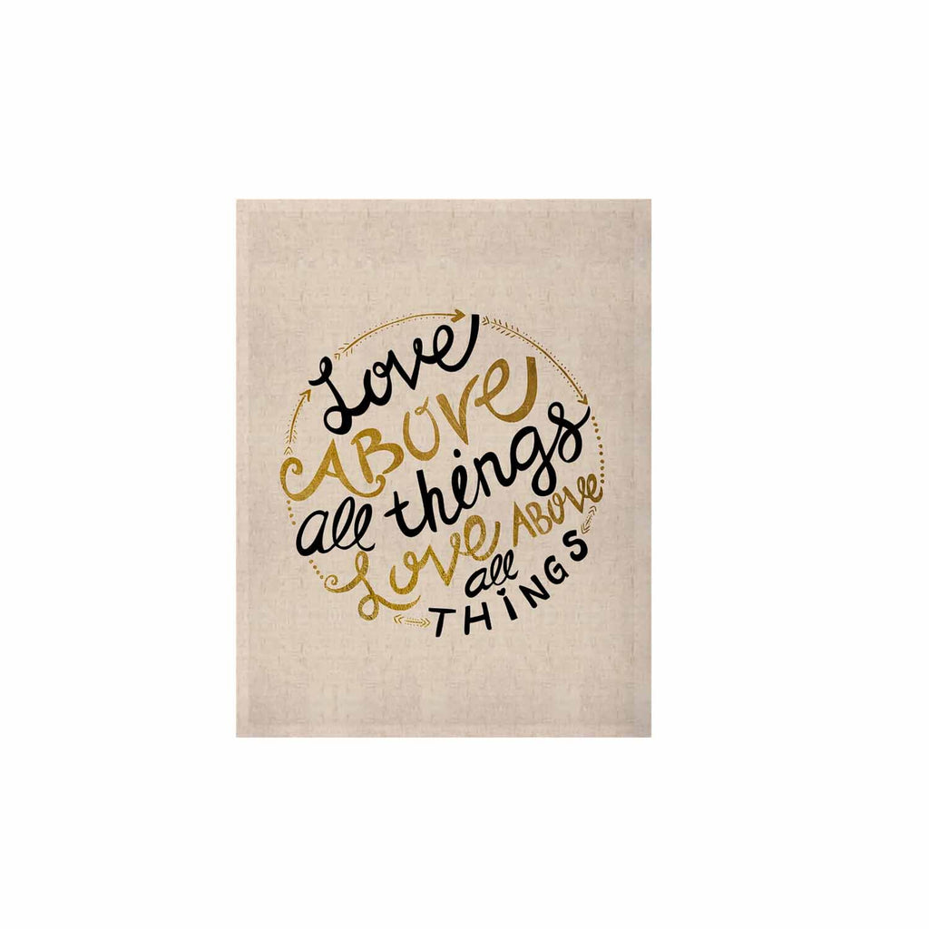 "Pom Graphic Design ""Love Above All Things"" Black Gold Vector Typography KESS Naturals Canvas (Frame not Included)"